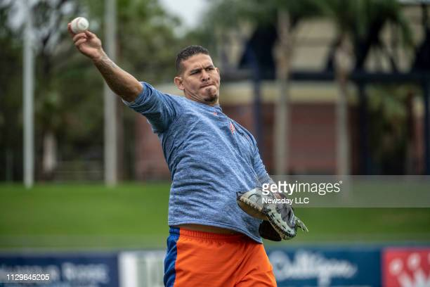 New York Mets catcher Wilson Ramos on February 13 2019 during a spring training workout in Port St Lucie FL