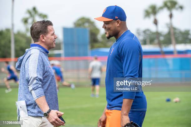 New York Mets GM Brodie Van Wagenen and player Jeurys Familia during a spring training workout on February 11, 2019 at First Data Field in Port St....