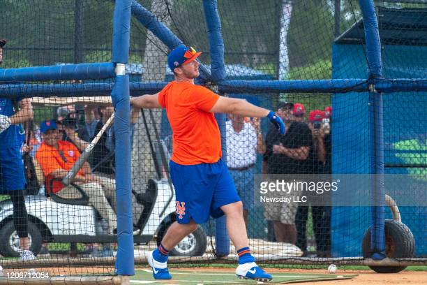 New York Mets infielder Pete Alonso takes on batting practice during a spring training workout, Saturday, Feb. 15 in Port St. Lucie, Florida.