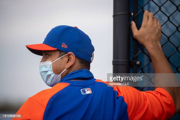 New York Mets manager Luis Rojas wear face mask during a spring training workout on February 24 in Port St. Lucie, Florida.