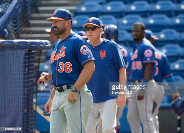 New York Mets Manager Mickey Callaway looks on during a splitsquad scrimmage during spring training on February 22 2019 in Port St Lucie Florida