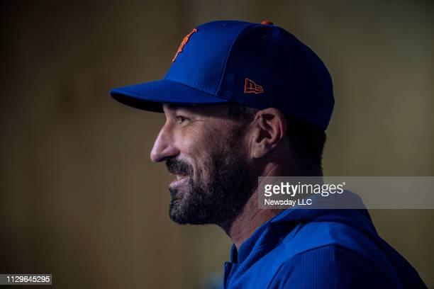 New York Mets manager Mickey Callaway talks to reporters Wednesday February 13 2019 after a spring training workout in Port St Lucie Florida