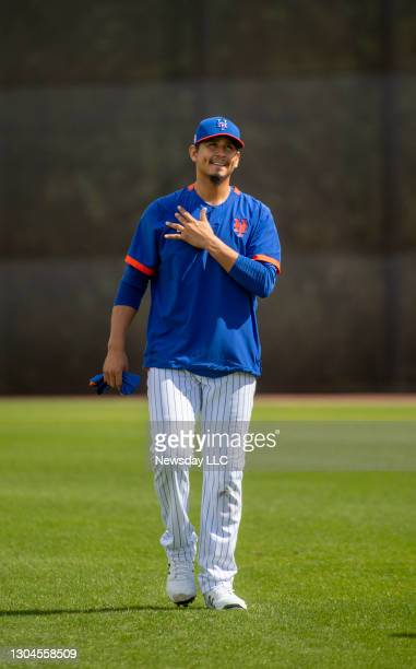 New York Mets pitcher Carlos Carrasco during a spring training workout on Feb. 27 in Port St. Lucie, Florida.