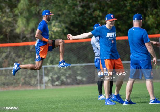 New York Mets player Amed Rosario warming up during a spring training workout Tuesday February 12 2019 in Port St Lucie Florida