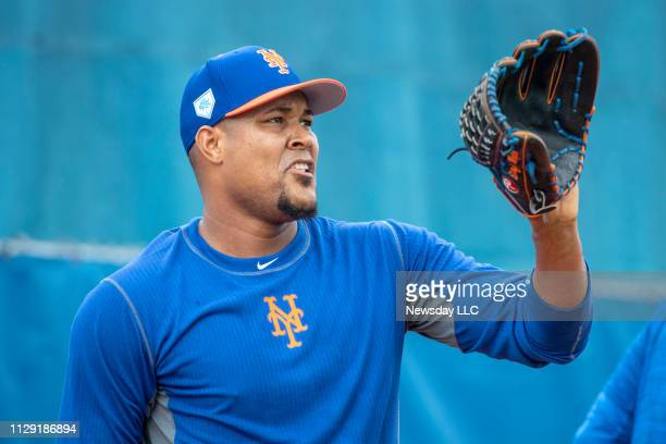 New York Mets player Jeurys Familia catches during a spring training workout on February 11, 2019 at First Data Field in Port St. Lucie, Florida.