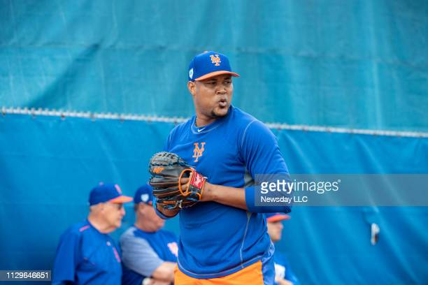New York Mets player Jeurys Familia during a spring training workout on February 11, 2019 at First Data Field in Port St. Lucie, Florida.