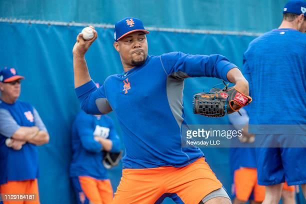 New York Mets player Jeurys Familia throws during a spring training workout on February 11 2019 at First Data Field in Port St Lucie Florida