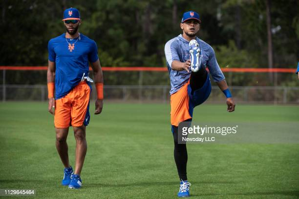 New York Mets players Amed Rosario and Juan Lagares during a spring training workout on February 12 2019 in Port St Lucie Florida