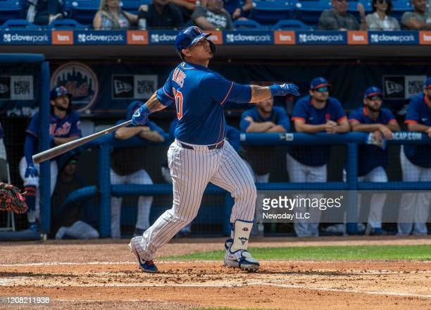 New York Mets' Wilson Ramos bats during the spring training opening game against the Miami Marlins at Clover Park in Port St Lucie FL Saturday Feb 22...