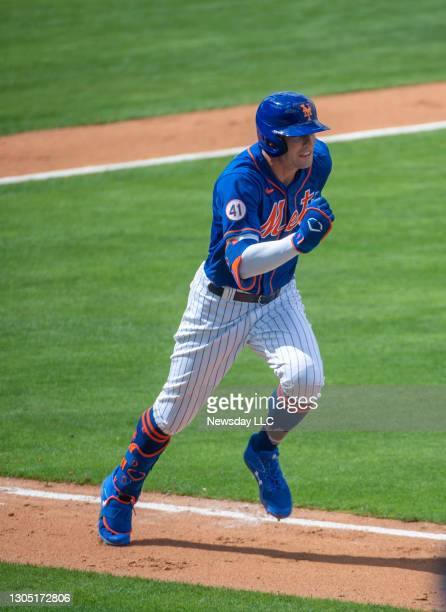 Port St. Lucie, Florida: New York Mets' Brandon Nimmo runs after hitting a double in the third inning against the Houston Astros at Clover Park in...