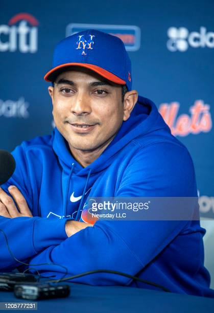New York Mets manager Luis Rojas speaks at a press conference during spring training on February 11 2020 at Clover Park in Port St Lucie Florida