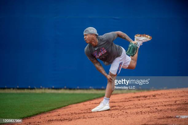Port St. Lucie, Florida: New York Mets pitcher Marcus Stroman throws during a spring training workout at Clover Park in Port St. Lucie, Florida on...