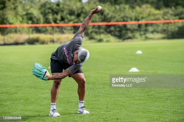 Port St. Lucie, Florida: New York Mets pitcher Marcus Stroman warms up during a spring training workout at Clover Park in Port St. Lucie, Florida on...