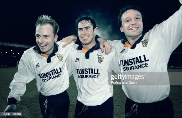 Port Vale players Jon McCarthy , Allen Tankard and Andy Hill celebrate after the FA Cup 4th Round Replay tie between Port Vale and Everton at Vale...