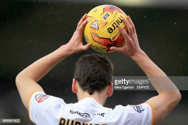 Port Vale's Ben Purkiss takes a throwin