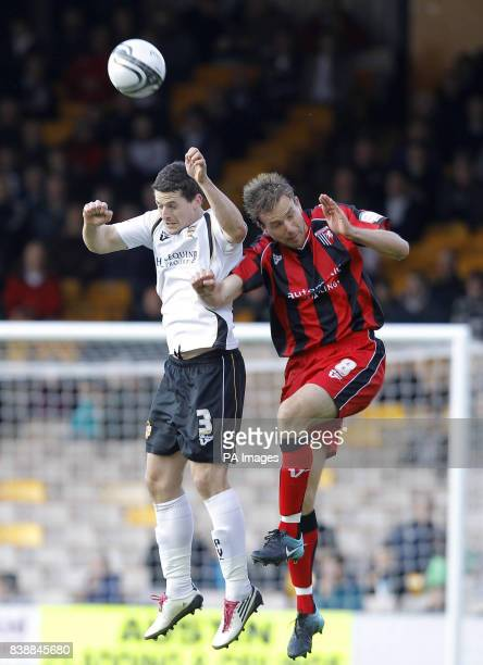 Port Vale's Robert Taylor and Gillingham's Mark Bentley battle for the ball during the npower Football League Two match at Vale Park StokeonTrent