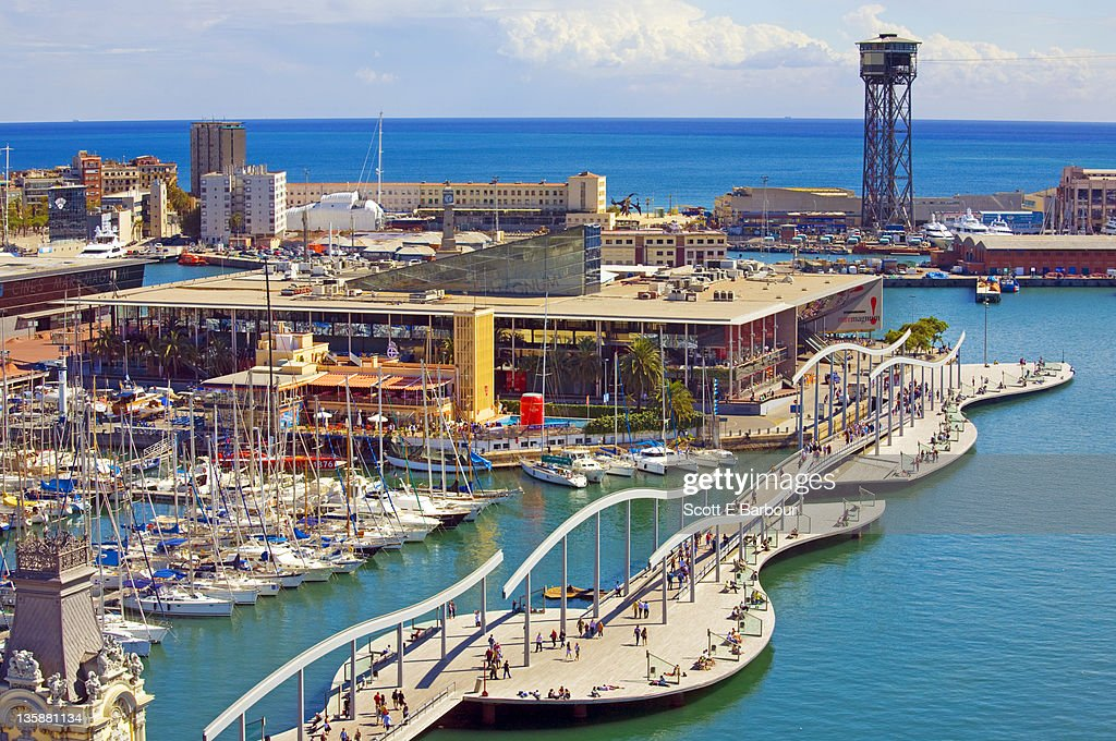 port vell and port de barcelona stock photo getty images. Black Bedroom Furniture Sets. Home Design Ideas