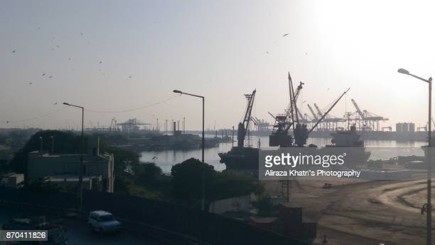 Port view, Cranes and Boats - Karachi Port
