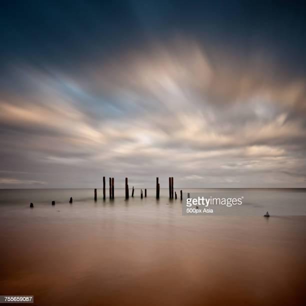 port willunga beach at sunset, adelaide, south australia, australia - ウィランガ ストックフォトと画像