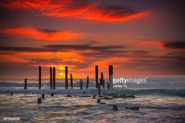 port willunga sunset - ウィランガ ストックフォトと画像