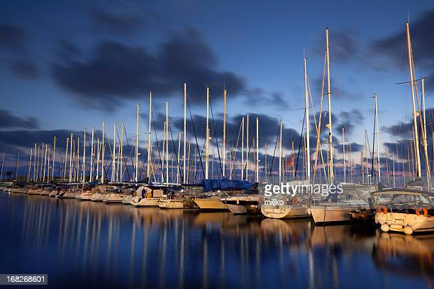 Port with luxury sailboats