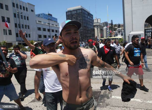 Port workers celebrate the agreement with EPV to end the strike at Prat Dock on December 21 2018 in Valparaiso Chile The 35day strike one of the...