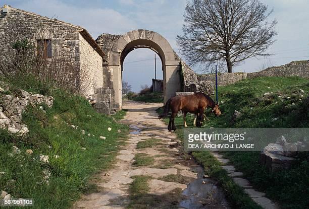 Porta Benevento city gate archaeological area of the Roman city of Saepinum Sepino Molise Italy
