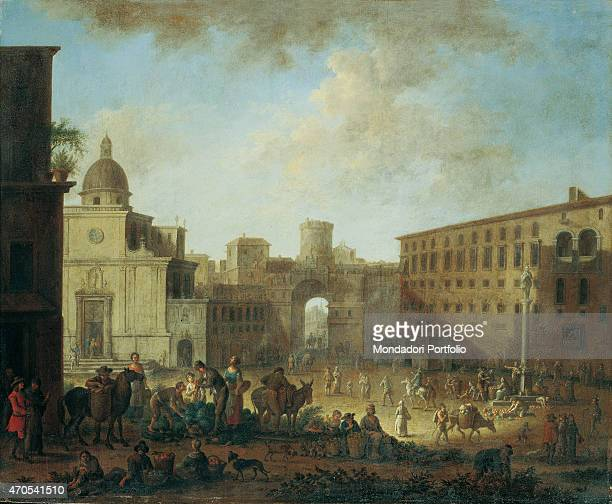 'Porta Capuana by unknown artist 17th Century oil on canvas Private collection Whole artwork view Wide shot on Piazza San Francesco with Porta...