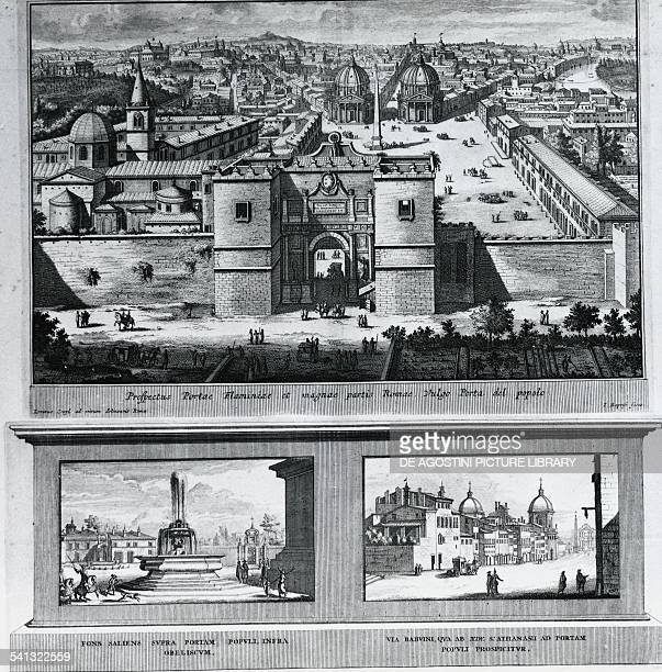 Porta Flaminia and Piazza del Popolo in Rome engraving by Jacob Baptiste Italy 17th century