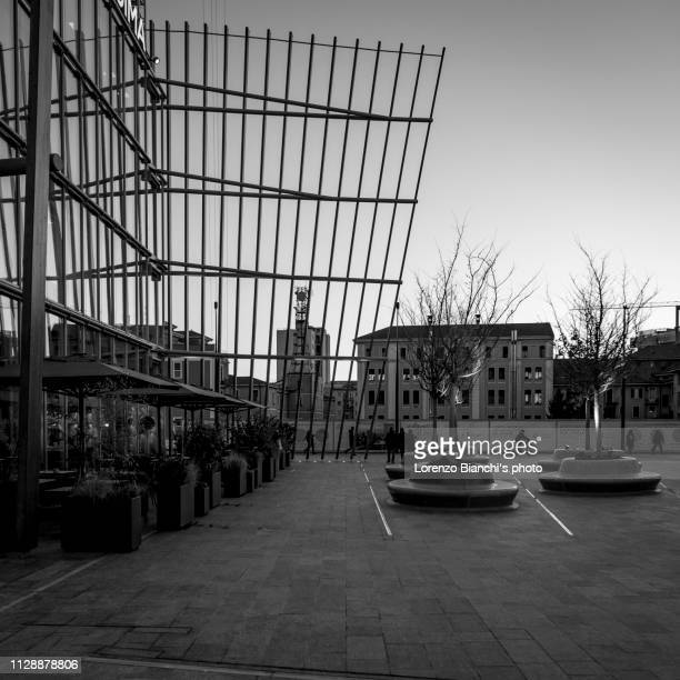 porta nuova district, milan, italy - black and white instant print stock pictures, royalty-free photos & images