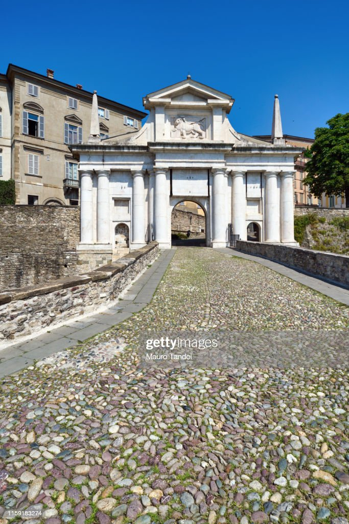Porta San Giacomo (Saint James Door), Bergamo, Italy : Stock-Foto