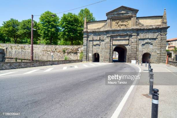 porta sant'agostino (saint agostino door), bergamo, italy - mauro tandoi stock photos and pictures