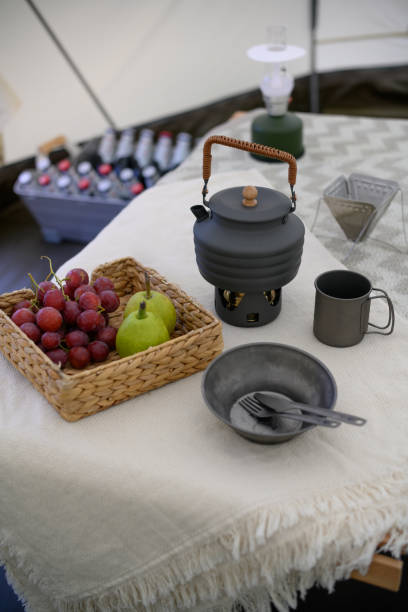 Portable cooking set for camping on the table