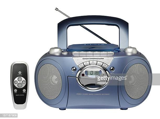 portable radio cassette recorder with cd/mp3 player (clipping path) - personal compact disc player stock pictures, royalty-free photos & images