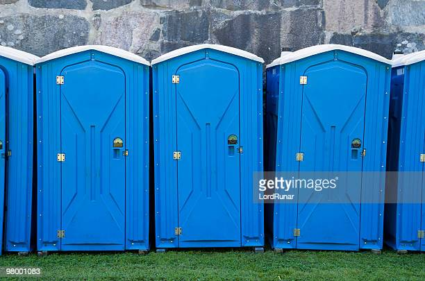 portable toilets - portable toilet stock photos and pictures