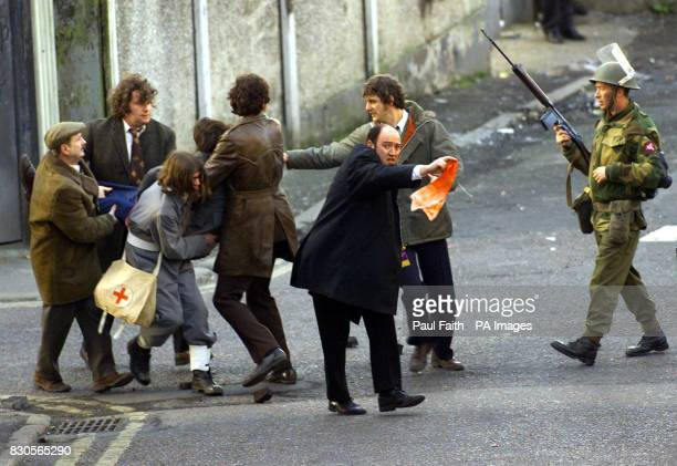 Portadown born actor Brian Devlin portraying father Edward Daly with a blood soaked handkerchief on Bloody Sunday The streets round the Bogside in...