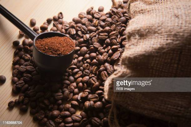 portafilter holding ground coffee on roasted coffee beans - ground coffee - fotografias e filmes do acervo