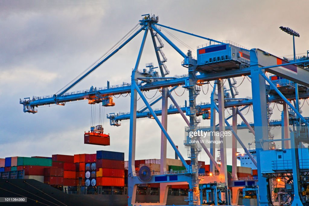 Portainer Cranes Port Melbourne Australia Stock Photo