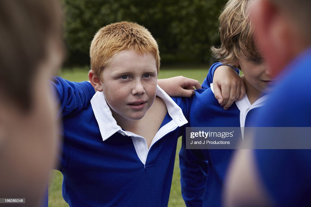 Portait of a boy in a group : Stock Photo