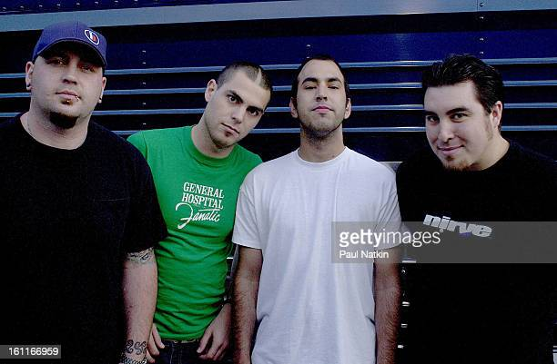 Portait of American alternative rock group Alien Ant Farm as they pose together Chicago Illinois May 19 2001 Pictured are from left guitarist Terry...