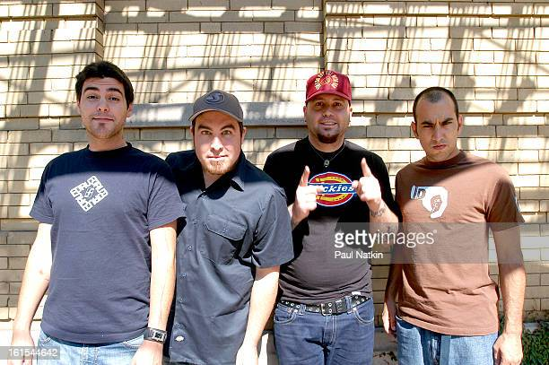 Portait of American alternative rock group Alien Ant Farm as they pose together Chicago Illinois May 19 2001 Pictured are from left drummer Mike...