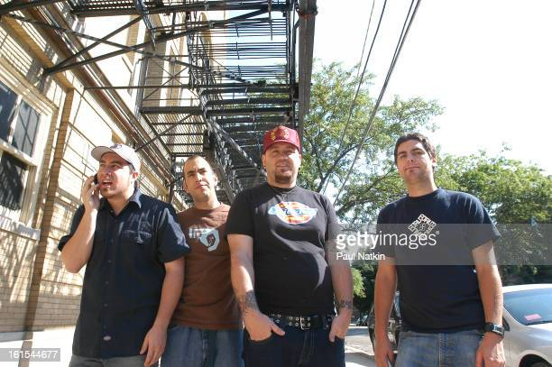 Portait of American alternative rock group Alien Ant Farm as they pose together Chicago Illinois May 19 2001 Pictured are from left bassist Tye...