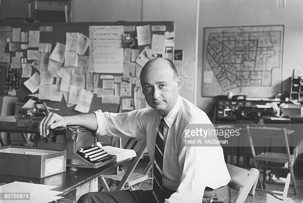 Portait of American politician Ed Koch the Democratic Party district leader of Greenwich Village in his party's Sheridan Square office New York New...