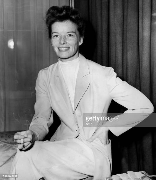 Portait of the American actress Katharine Hepburn at a reception in London 06 April 1951 Hepburn was to play in the movie The African Queen by John...