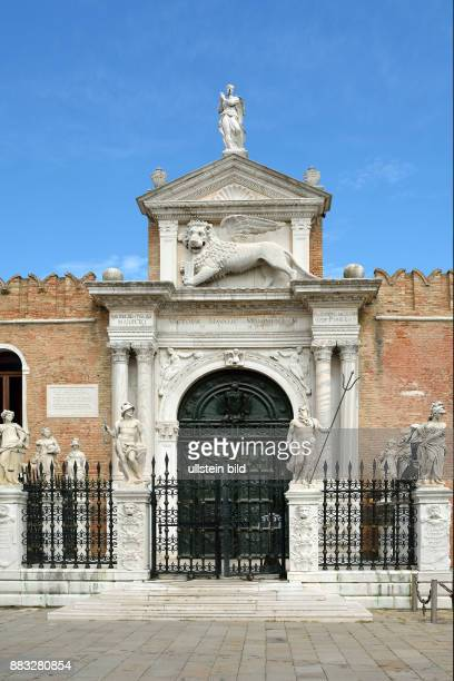 Portal ingresso di terra at the entrance to the historic Venetian Arsenal and Naval Museum in Castello district of Venice in Italy. Caution: For the....