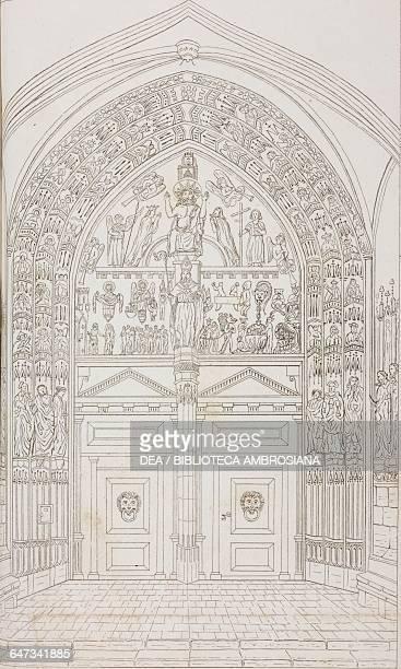 Portal of Fribourg Cathedral Switzerland drawing from Peregrinazione al Gran San Bernardo Losanna Friburgo Ginevra con una corsa a Lione Parigi e...