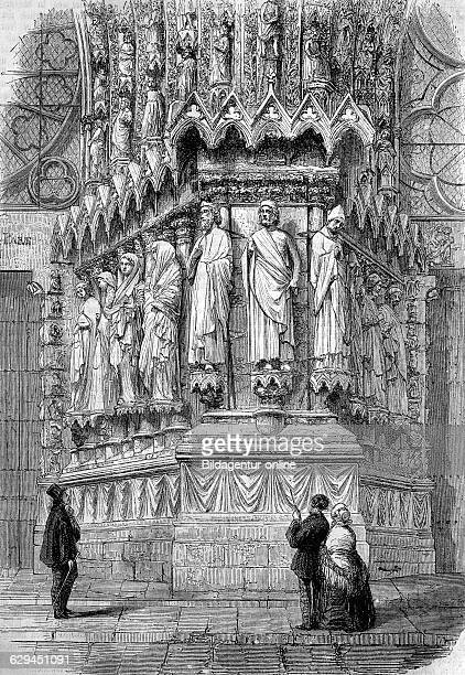 Portal of reims cathedral france historical wood engraving circa 1888