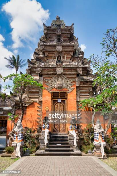 portal of saraswati temple, ubud, bali - mauro tandoi stock photos and pictures