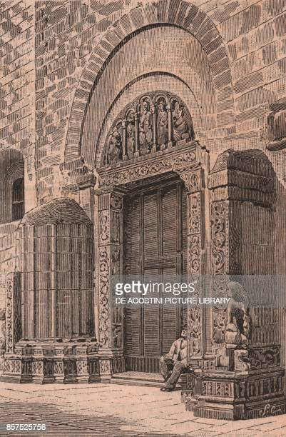 Portal of the church of St Andrew Barletta Puglia Italy woodcut from Le Cento citta d'Italia illustrated monthly supplement of Il Secolo Milan 1898