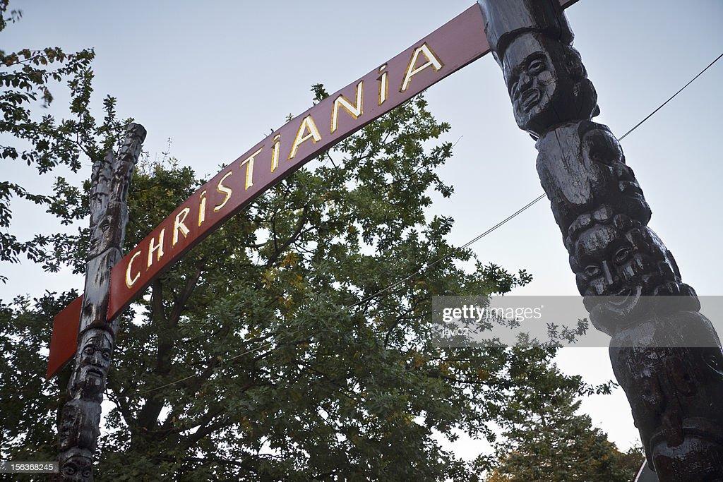 Portal to Christiania in Copenhagen, Denmark : Stock Photo
